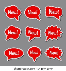 set of bubble advertising stickers, text with dash line vector, colorful badges