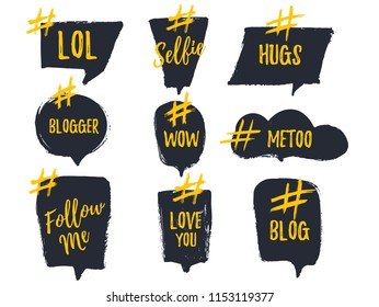 Set of bubble banners with hashtags. trendy design for young slang words. Vector illustration