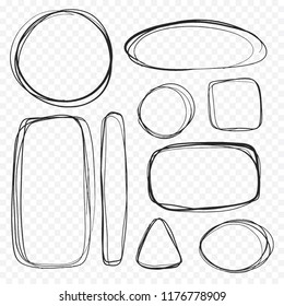 Set of bubble boxes in a minimalistic sketch. Sloppy drawing with pencil by hand. Various dialog boxes in geometric shapes - circle oval rectangle triangle. Vector isolated. Use as icon sign pattern