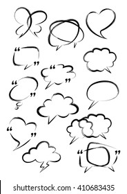 Set of bubble speech. Digital brush. Vector doodle hand drawn.