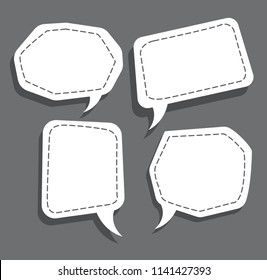 set of bubble speech with dotted line and shadow