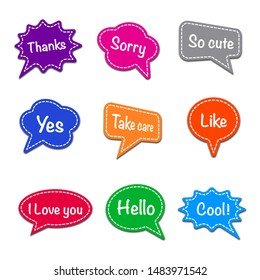 set of bubble speech for message, text space with dash line vector, colorful advertising stickers