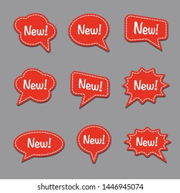set of bubble speech with new message, text space with dash line vector, colorful advertising stickers