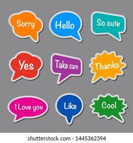 set of bubble speech with short message, text space with dash line vector, colorful chat stickers