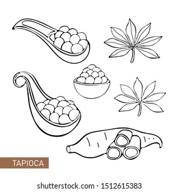 Set Bubble Tea, Pearl milk tea, black and white pearls. Taiwanese drink. Tapioca. Isolated object on white background in vector. Cassava. Manihot leaves and tubers. Black and white. Dood