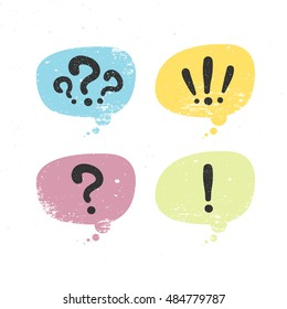 Set of bubbles with question and exclamation marks. Colorful, white background. Vector, illustration, flat.