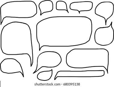 Set of bubbles speech, hand-draw Sketch doodle