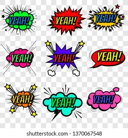 Set of bubbles speech, oops expression, crash and bang cloud, pow sound and cool comic exclamation, bomb pow sound. Dialogue and humour, communicate theme. Vector illustration  eps10.