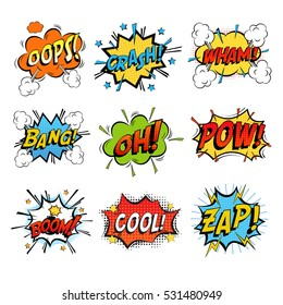 Set of bubbles speech, oops expression and speak onomatopoeia, crash and bang cloud, pow sound and cool comic exclamation, bomb pow sound. Dialogue and humour, communicate theme
