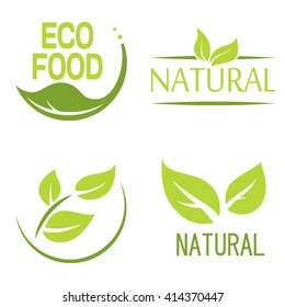 Set of bubbles, stickers, labels, tags with text. Natural, eco food. Organic food badges in vector (cosmetic, food). Vector logos. Natural logos with leaves.