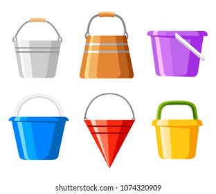 Set of buckets. A variety of bucket. Colored containers for water or sand. Cartoon style design. Vector illustration isolated on white background. Web site page and mobile app design.