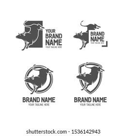 Set of bucking bull logo. Vintage/retro buffalo badge illustration. Angry bull illustration collection. Matador monotone logo. Bulls logo template. Eps10.