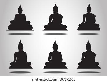 Set of Buddha Silhouettes on the white background