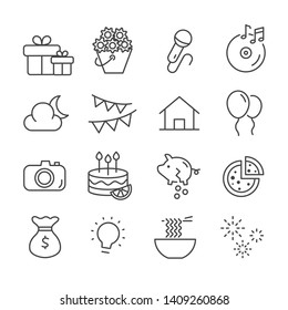 Set of budget for party tonight icons. Celebration concept outline isolated on white background