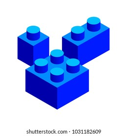 Set of bue 3d building blocks