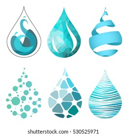 Set of bue bright different water drop icons. water drop logo. water drop vector