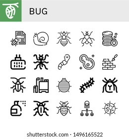 Set of bug icons such as Cocoon, Virus, Snail, Louse, Fly, Cyber attack, Mosquito repellent, Mantis, Worm, Bacteria, Brickwall, Cockroach, Pesticide, Woodlouse, Scolopendra , bug