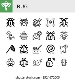 Set of bug icons. Such as Dragonfly, Beetle, Tarantula, Bug, Cockroach, Mosquito, Woodlouse, Spam, Mite, Louse, Butterfly net, Moth, Brickwall, Mosquito coil, Bacteria , bug icons