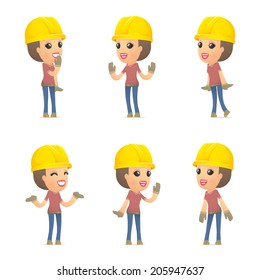 set builder girl of character in different interactive  poses
