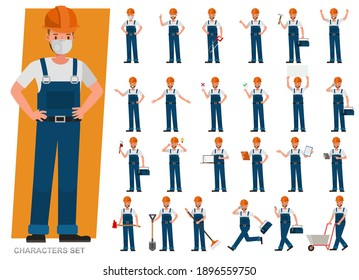 Set of Builder man wear blue jeans working character vector design. Presentation in various action with emotions, running, standing and walking.