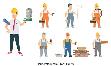 Set of builder, repairman. Architect,engineer,electrician,carpenter,plumber and others. Vector cartoon character illustration
