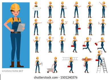 Set of Builder woman people working character vector design. Presentation in various action with emotions, running, standing and walking.