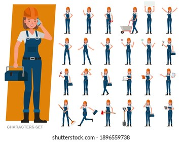 Set of Builder woman wear blue jeans working character vector design. Presentation in various action with emotions, running, standing and walking.