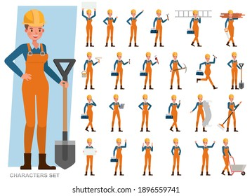 Set of Builder woman wear orange jeans working character vector design. Presentation in various action with emotions, running, standing and walking.