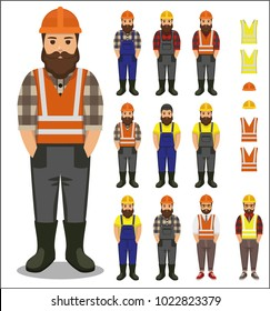 Set of Builder/worker man in plaid shirt, jumpsuit and helmet flat icon - a man with a moustache, beard  wearing in worker jumpsuit, plaid shirt, rubber boots and helmet construction.