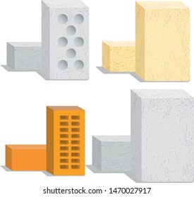 set of building bricks of different types vector image on a white background