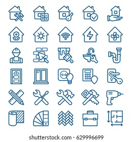 Set of building construction and home repair icons. Vector illustration
