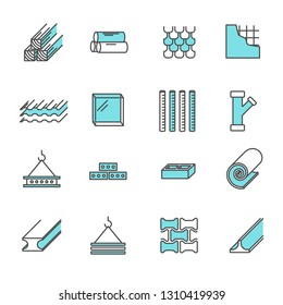 Set of building construction materials Related Vector Line Icons. Includes such icons as bricks, boards, glass, rails, frame