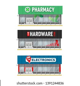 set of building facade  illustration. Store of Pharmacy, Electronic shop,  hardware store