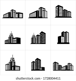 set of building flat icon with black and white