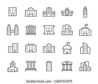set of building icons, such as city, apartment, condominium, town