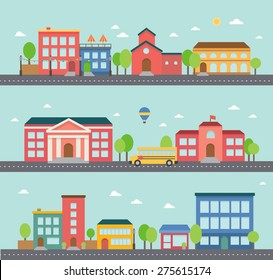 Set of building icons in a town