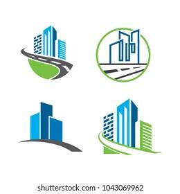 set of building infrastructure logo