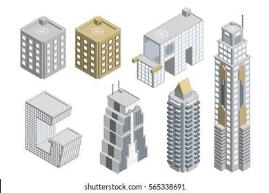 Set of Building Isometric Bangkok, Thailand Vector