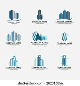 Set of building logo design. Real estate company logo design, abstract construction logo design. Building logo design