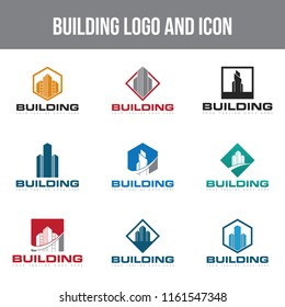 set building logo and icon Vector design Template