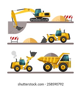 Set of building machines. Construction equipment and machinery - excavator, truck, loader. Vector illustrations in flat style.