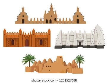 Set of buildings African architecture. House, mosque, ancient dwelling. Color drawing isolated on a white background. Vector illustration.