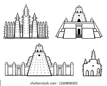 Set of buildings African architecture. House, mosque, ancient dwelling. Monochrome drawing isolated on a white background.  Vector illustration.