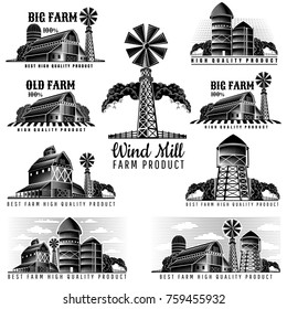 Set of buildings of farm, granary, water tower, wind mill in retro style vintage label