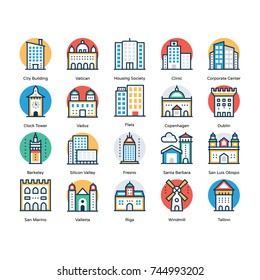 Set of Buildings Flat Icons
