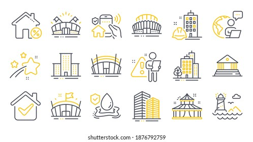 Set of Buildings icons, such as Buildings, Loan house, Skyscraper buildings symbols. Flood insurance, Lighthouse, Arena stadium signs. University campus, Court building, Arena. Circus. Vector