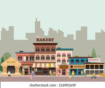 Set of buildings in the style of business flat design. Roads and city against the sky and snow-capped mountains. Architecture of a small town market, salon, pharmacy, bakery, bank, coffee shop.