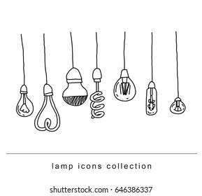 Set bulb  idea icon, vector illustration