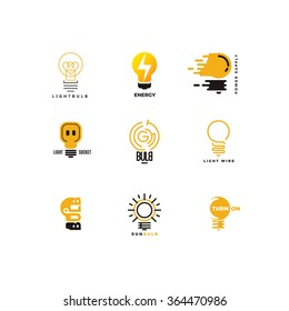 Set of bulb logo. Outline and flat. Power feed and energy supply. Bright ideas, creative thoughts. Vector design template. Bulb logo. Energy logo. Vector energy logo. Vector bulb. Bulb logo. Bulb icon
