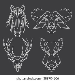 Set of bull, deer, horse and wild hog vector animal heads drawn in line or triangle style, suitable for modern tattoo templates, icons or logo elements